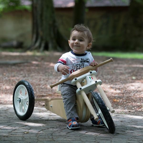 Triciclo legno senza pedali